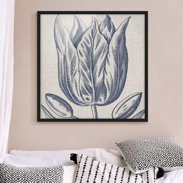 Poster con cornice - Indigo Blossom On Linen II - Quadrato 1:1