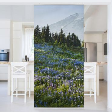 Tenda a pannello - Mountain meadow with flowers in front of Mt. Rainier 250x120cm