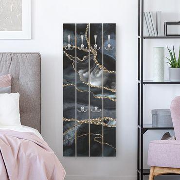 Appendiabiti in legno - Nero con glitter oro - Ganci cromati - Verticale