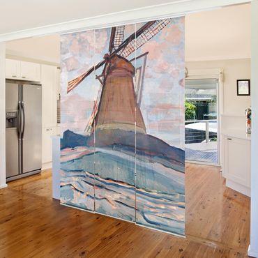 Tende scorrevoli set - Piet Mondrian - Windmill - 3 Pannelli