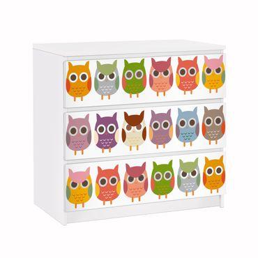 Carta adesiva per mobili IKEA - Malm Cassettiera 3xCassetti - No.EK147 owls Parade Set II