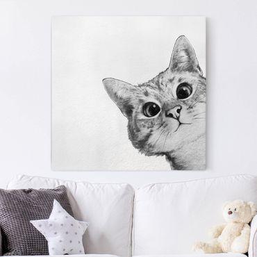 Quadri su tela - Illustrazione Cat Disegno NeroBianco