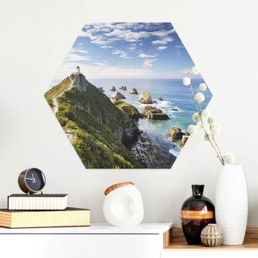 Esagono in Alu-dibond - Nugget Point Lighthouse e Sea Nuova Zelanda