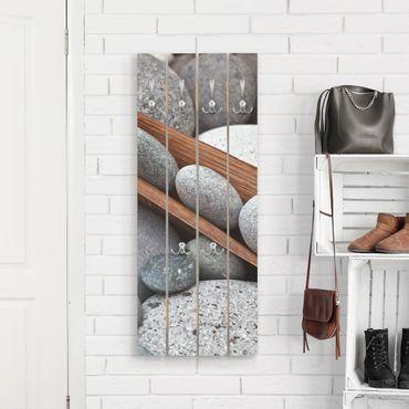 Appendiabiti in legno - Ancora Vita Con Grey Stones - Ganci cromati - Verticale