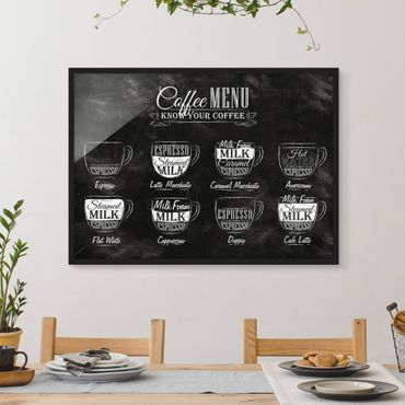 Poster con cornice - Coffees Chalkboard - Orizzontale 3:4