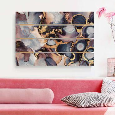 Stampa su legno - Elisabeth Fredriksson - Marmo Acquerello con oro - Orizzontale 2:3