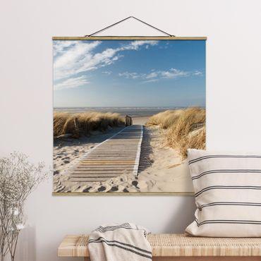 Quadro su tessuto con stecche per poster - Spiaggia del Mar Baltico - Quadrato 1:1