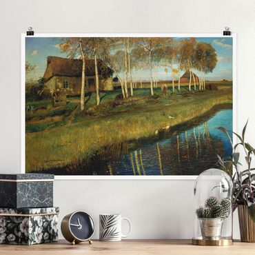 Poster - Otto Modersohn - autunno mattina sugli Moorkanal - Orizzontale 2:3