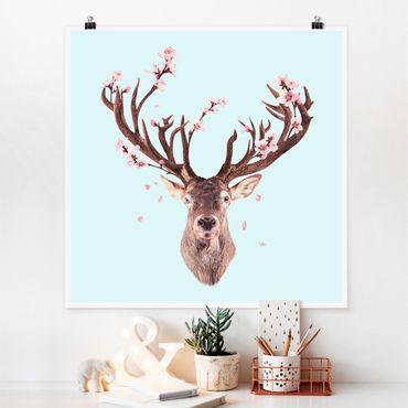 Poster - Cervo con Cherry Blossoms - Quadrato 1:1