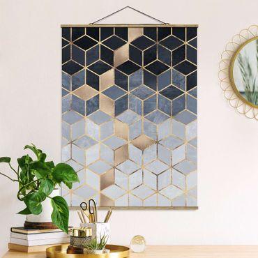 Foto su tessuto da parete con bastone - Elisabeth Fredriksson - Bianco d'oro Geometria Blu - Verticale 4:3