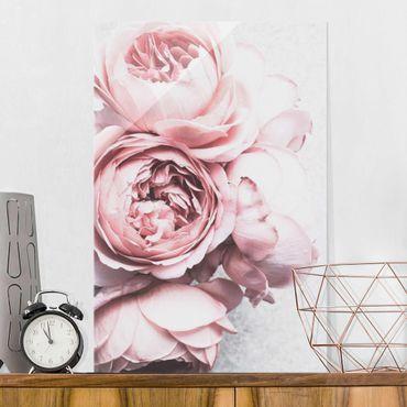 Quadro in vetro - Pink Peony fiori pastello misera - Verticale 3:2