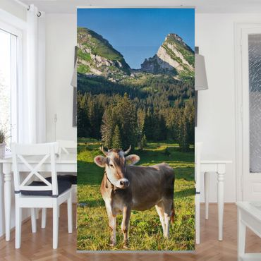 Tenda a pannello - Swiss Alpine meadow with cow 250x120cm