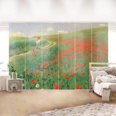 Tende scorrevoli set - Pál Szinyei-Merse - Paesaggio estivo con una fioritura di papavero - 6 Pannelli