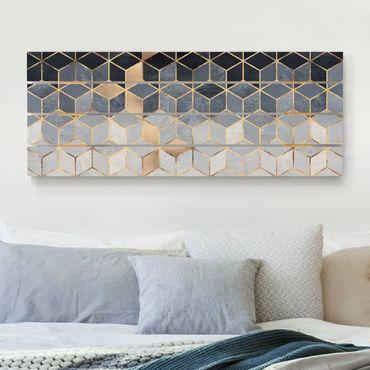 Stampa su legno - Elisabeth Fredriksson - Bianco d'oro Geometria Blu - Orizzontale 2:5