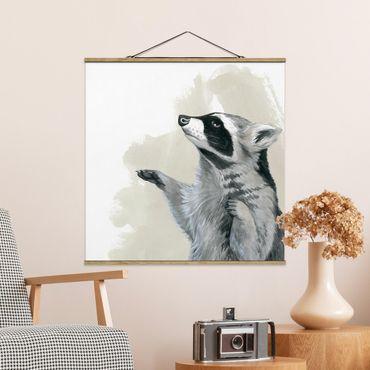 Foto su tessuto da parete con bastone - Forest Friends - Raccoon - Quadrato 1:1