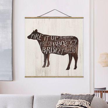 Foto su tessuto da parete con bastone - Farm BBQ - Mucca - Quadrato 1:1