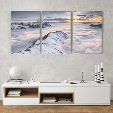 Stampa su tela 3 parti - View of clouds and mountains - Verticale 3:2