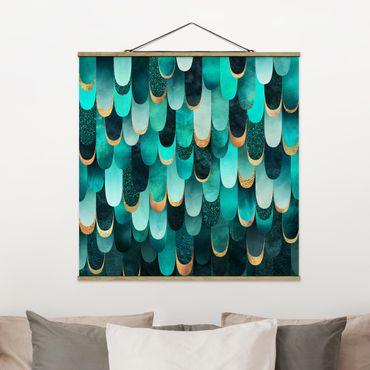 Foto su tessuto da parete con bastone - Elisabeth Fredriksson - Piume d'oro Turchese - Quadrato 1:1