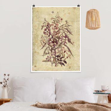 Poster - Vintage tela floreale sguardo - Verticale 4:3