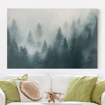 Stampa su tela - Foresta di conifere nella nebbia - Orizzontale 3:2