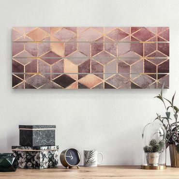 Stampa su legno - Elisabeth Fredriksson - Rosa Grigio d'oro Geometria - Orizzontale 2:5