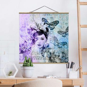 Foto su tessuto da parete con bastone - Shabby Chic Collage - Ritratto Con Le Farfalle - Quadrato 1:1