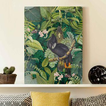Stampa su tela - Colorato collage - Cacatua In The Jungle - Verticale 4:3