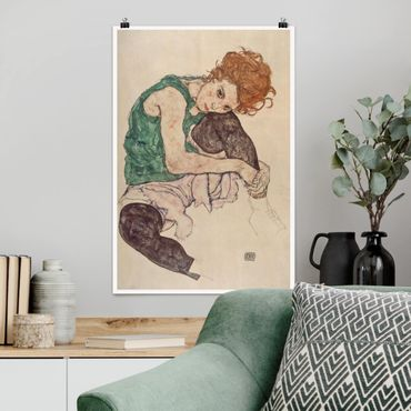 Poster - Egon Schiele - Donna seduta con un ginocchio Up - Verticale 3:2