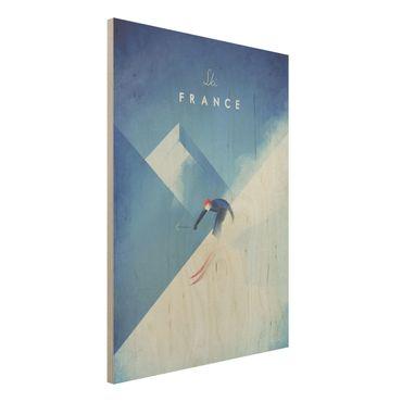Stampa su legno - Viaggi Poster - Sciare in Francia - Verticale 4:3