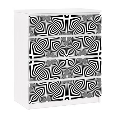Carta adesiva per mobili IKEA - Malm Cassettiera 4xCassetti ? Abstract ornament black and white