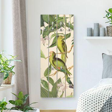 Appendiabiti in legno - Vintage Collage - Pappagalli In The Jungle - Ganci cromati - Verticale