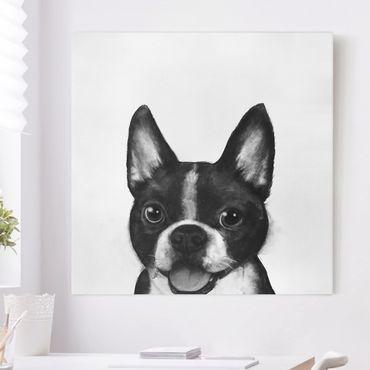 Quadri su tela - Illustrazione Dog Boston Monochrome Pittura