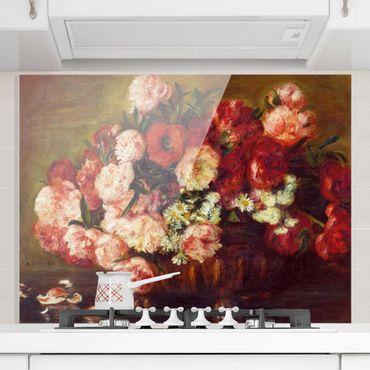 Spritzschutz Glas - Auguste Renoir - Stillleben mit Pfingstrosen - Querformat 3:4