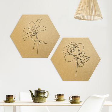Esagono in Alu-dibond - Line Art Flowers Nero Set Bianco