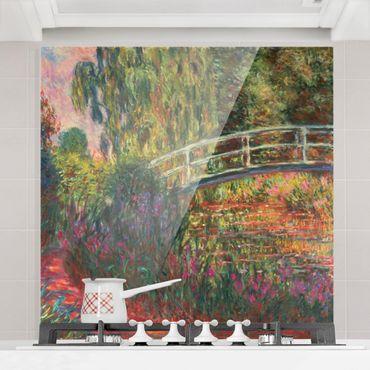 Spritzschutz Glas - Claude Monet - Japanische Brücke im Garten von Giverny - Quadrat 1:1