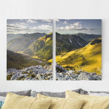 Stampa su tela 2 parti - Mountains And Valley Of The Lechtal Alps In Tirol - Verticale 4:3