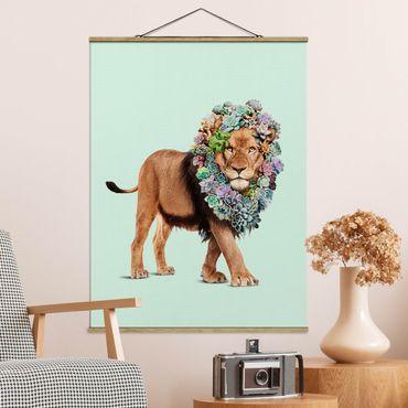 Foto su tessuto da parete con bastone - Leone con Succulente - Verticale 4:3