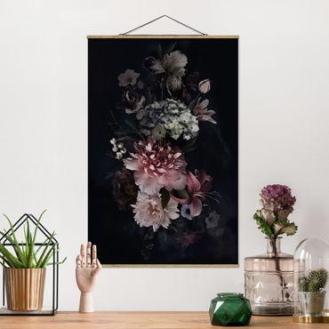 Foto su tessuto da parete con bastone - Fiori con la nebbia in Nero - Verticale 3:2