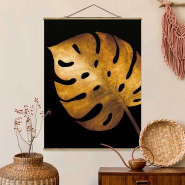 Foto su tessuto da parete con bastone - Gold - Monstera On Black - Verticale 4:3