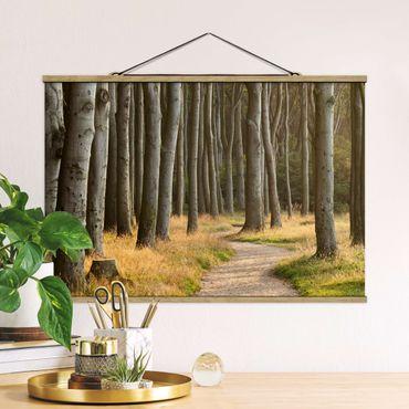 Foto su tessuto da parete con bastone - Forest Road nel nord della Germania - Orizzontale 2:3