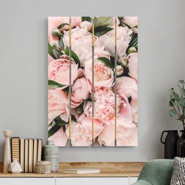 Stampa su legno - Peonie rosa con foglie - Verticale 3:2