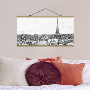 Foto su tessuto da parete con bastone - Città Studi - Parigi - Orizzontale 1:2