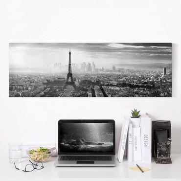 Stampa su tela - La Torre Eiffel From Above Bianco e nero - Panoramico
