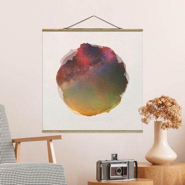 Foto su tessuto da parete con bastone - Acquarelli - Starry Sky sul mare - Quadrato 1:1