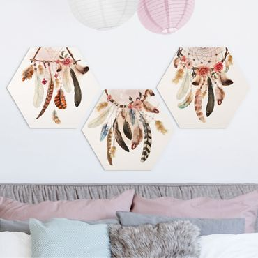 Esagono in Alu-dibond - Acquerello Dreamcatcher con piume