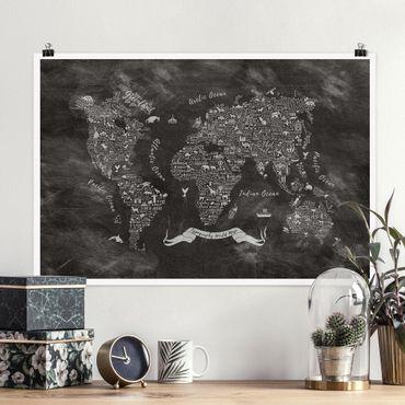 Poster - Chalk Tipografia Mappa del mondo - Orizzontale 2:3