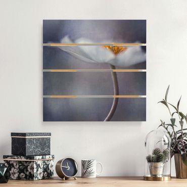 Stampa su legno - Bianco Anemoni Bloom - Quadrato 1:1