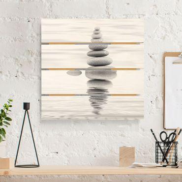 Stampa su legno - Torre Pietra In The Water Bianco e nero - Quadrato 1:1