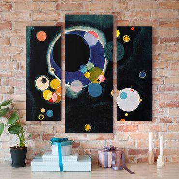 Stampa su tela 3 parti - Wassily Kandinsky - Several Circles - Trittico da galleria