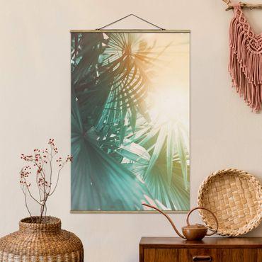 Foto su tessuto da parete con bastone - Piante tropicali Palme al tramonto - Verticale 3:2